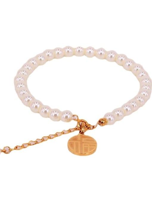 K.Love Titanium Steel Imitation Pearl Round Minimalist Beaded Bracelet 0