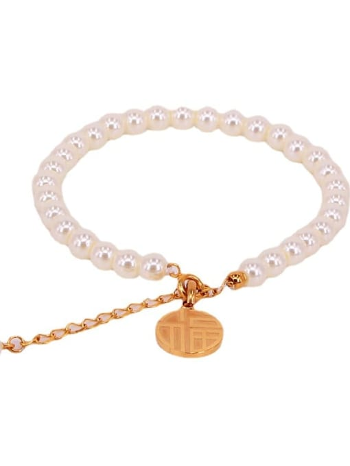K.Love Titanium Steel Imitation Pearl Round Minimalist Beaded Bracelet