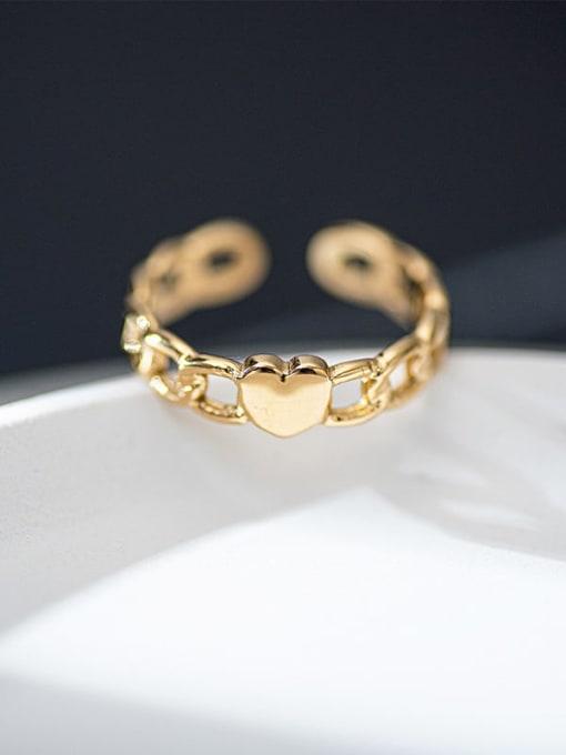 Gold Love chain titanium steel ring