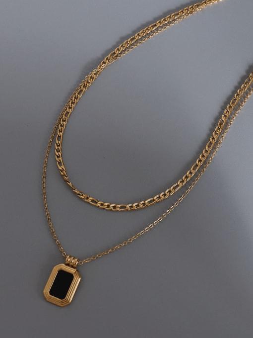 MAKA Titanium Steel Shell Geometric Vintage Multi Strand Necklace 2