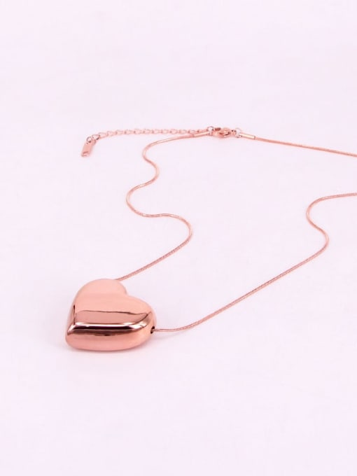 K.Love Titanium Steel Smooth Heart Minimalist Necklace 2