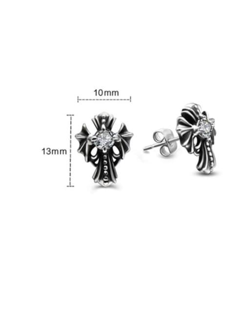 MAKA Titanium Steel Rhinestone Cross Vintage Stud Earring 1
