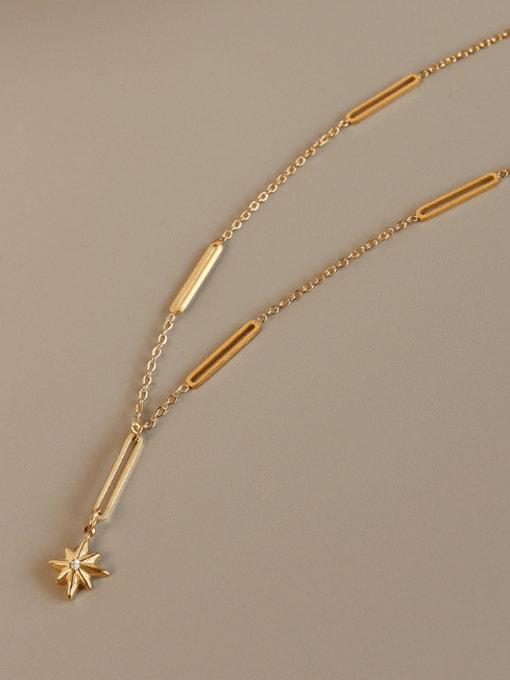 Gold Titanium Steel Cubic Zirconia Geometric Minimalist Lariat Necklace