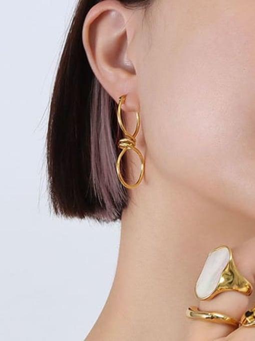 Gold zigzag twisted Earrings f537 Titanium Steel Geometric Minimalist Drop Earring