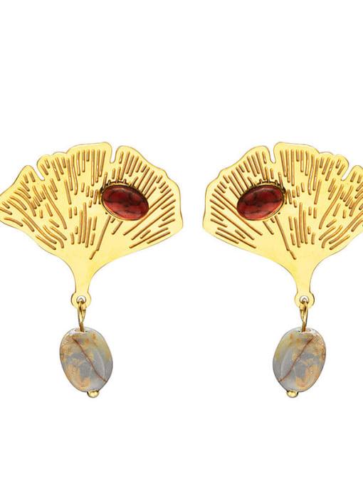 Red Leaf fashion natural stone titanium steel earrings