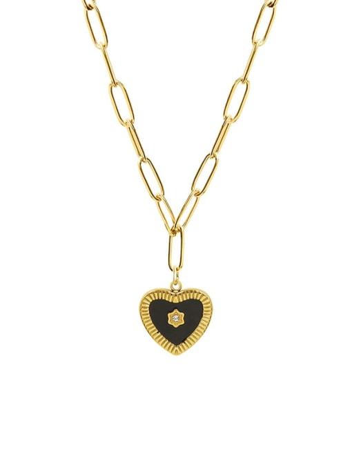 MAKA Titanium Steel Enamel Heart Minimalist Necklace