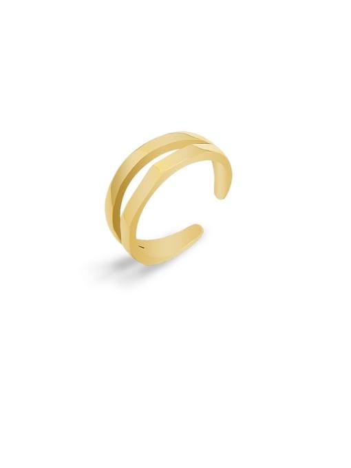 MAKA Titanium Steel Geometric Minimalist Stackable Ring 0