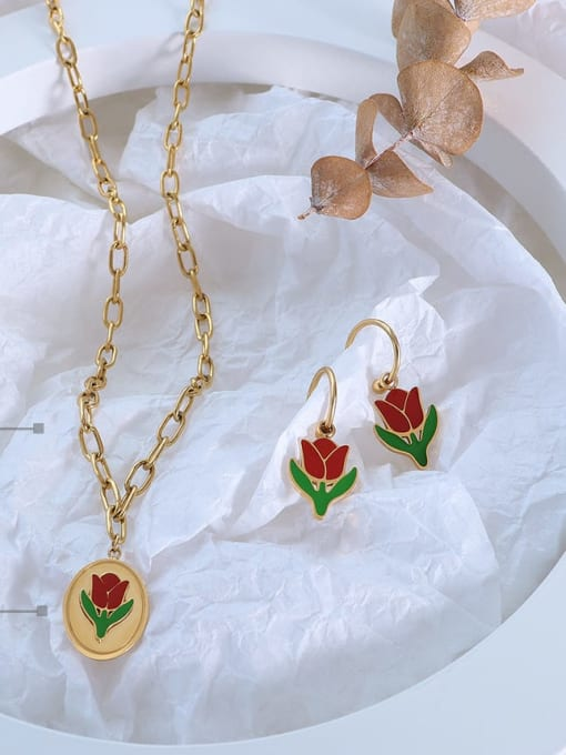 MAKA Titanium 316L Stainless Steel Enamel Vintage Friut  Earring and Necklace Set with e-coated waterproof 2