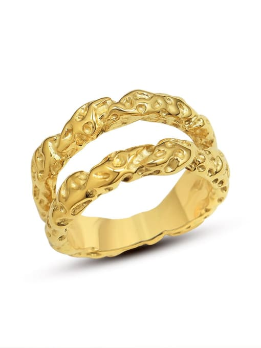 A225 gold ring Titanium Steel Geometric Hip Hop Stackable Ring