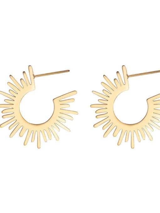 Gold European and American fashion temperament sunflower titanium steel earrings