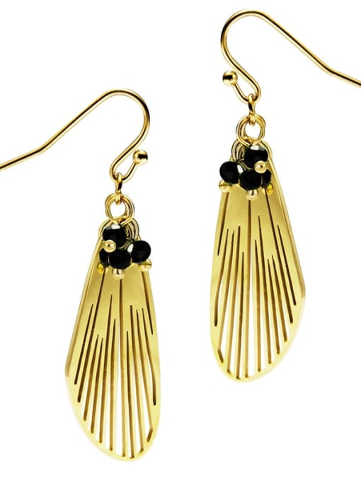 Black Feather cool wind personalized titanium steel earrings