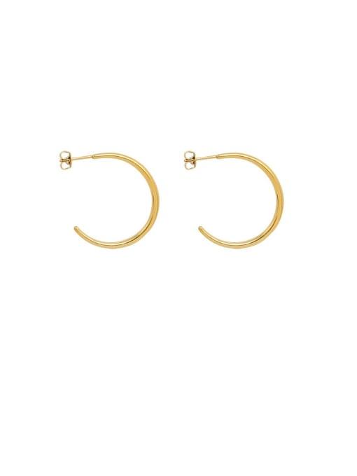 MAKA Titanium Steel C shape Minimalist Hoop Earring 0