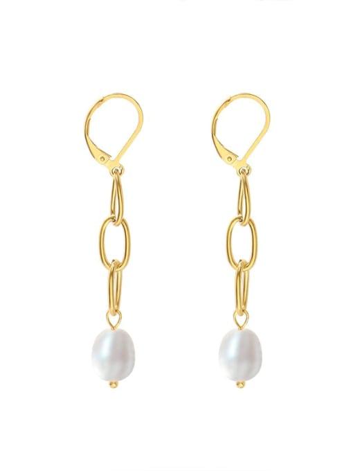 gold Titanium Steel Freshwater Pearl Geometric Tassel  Minimalist Drop Earring