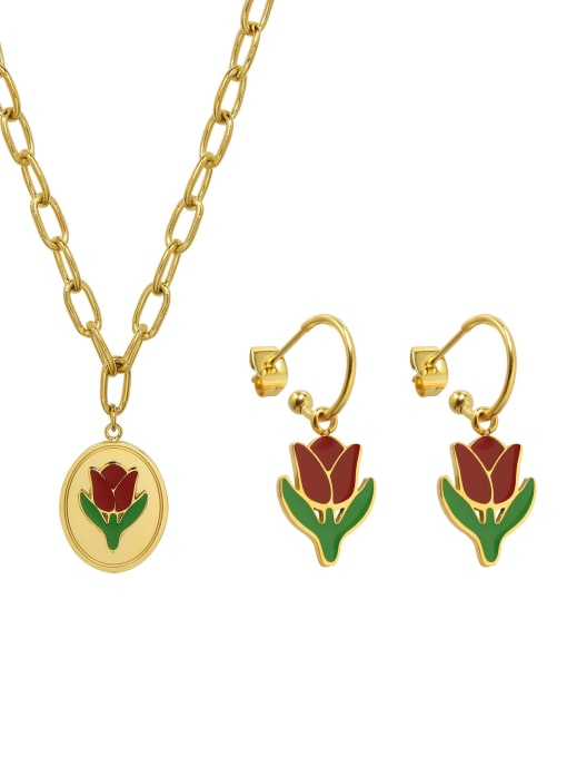 MAKA Titanium 316L Stainless Steel Enamel Vintage Friut  Earring and Necklace Set with e-coated waterproof