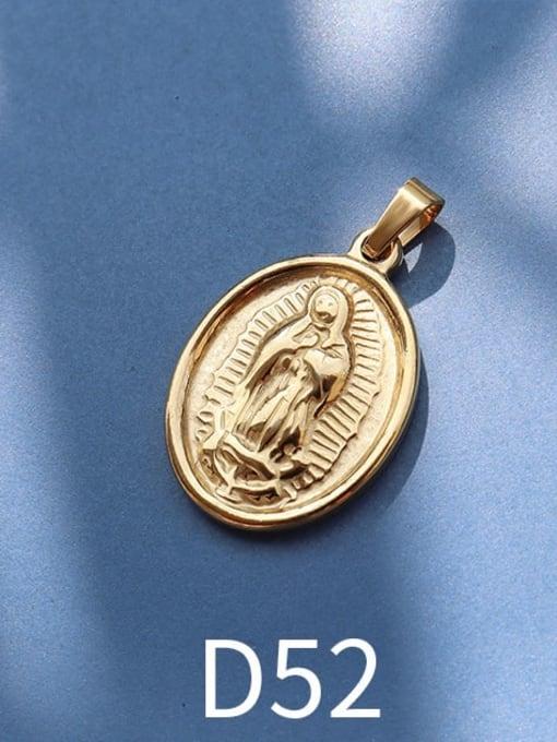 D52 gold Stainless steel Geometric  Vintage Pendant