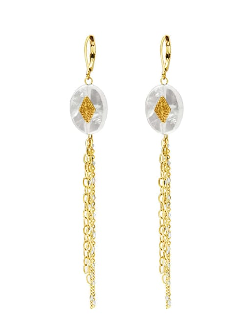 White Malachite long titanium steel earrings