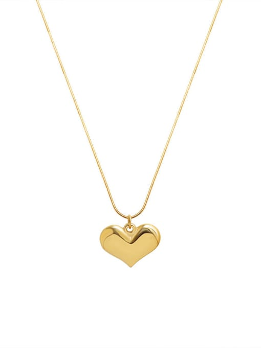 Gold necklace 40+5cm Titanium Steel Heart Minimalist Necklace