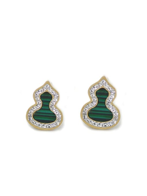 Green Freshwater shell auspicious ferro Malachite titanium steel gourd Earrings