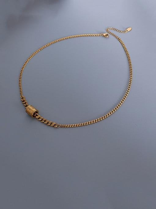 MAKA Titanium Steel Geometric  Letter Vintage Necklace 0