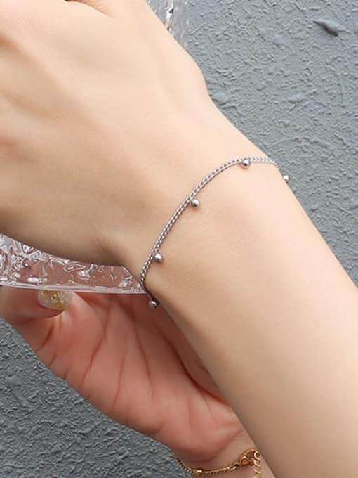 Steel color Bracelet 15 Titanium Steel  Bead Minimalist Link Bracelet
