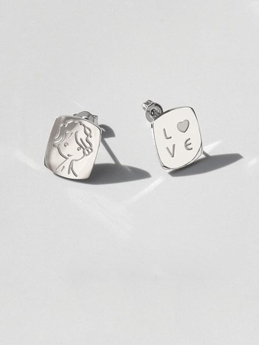 MAKA Titanium Steel Asymmetry Geometric Portrait Letters Cute Stud Earring 2