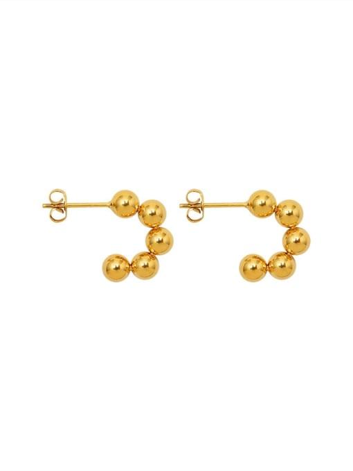 gold Titanium Steel Bead C shape Minimalist Stud Earring