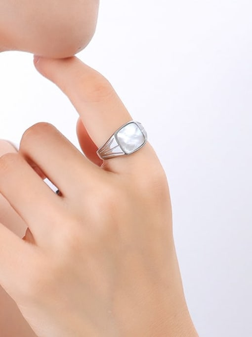A257 steel ring Titanium Steel Shell Geometric Vintage Band Ring