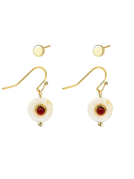 Red Geometric circular stainless steel combined Earrings