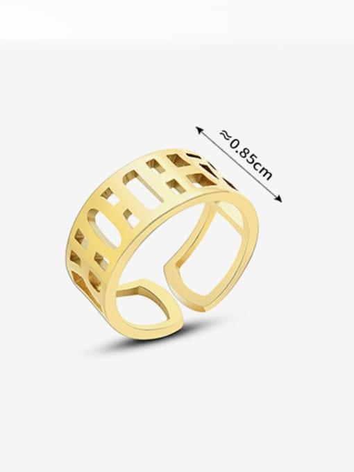 MAKA Titanium Steel Geometric Minimalist HollowLetter Band Ring 3