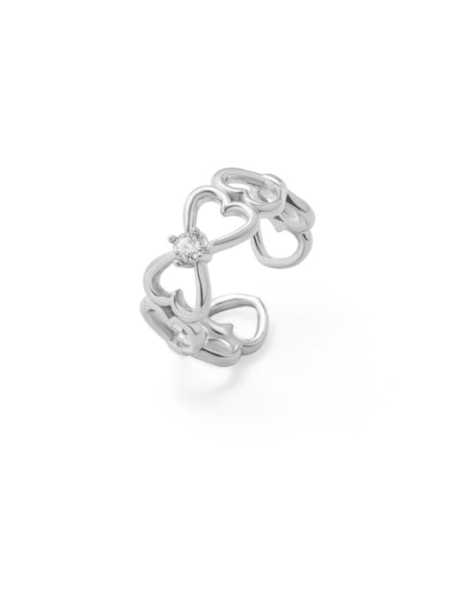 MAKA Titanium Steel Rhinestone Heart Artisan Band Ring 2