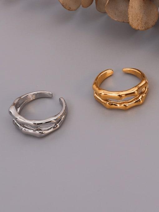 MAKA Titanium Steel Geometric Vintage Stackable Ring 1
