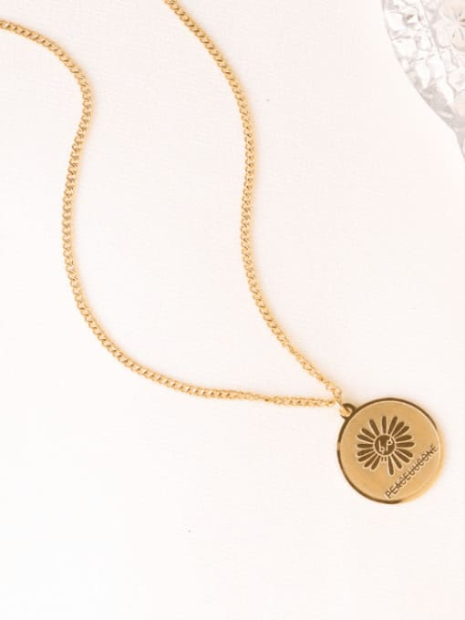 Gold Titanium Steel Geometric Flower Vintage Necklace