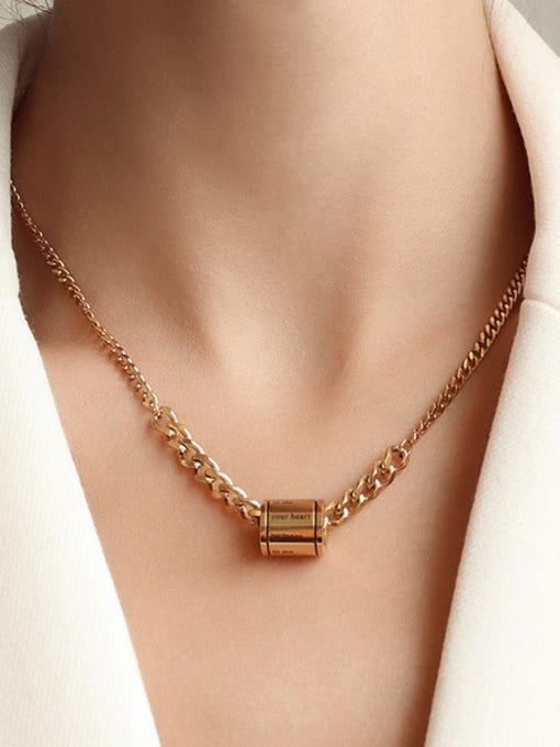 MAKA Titanium Steel Geometric  Letter Vintage Necklace 1