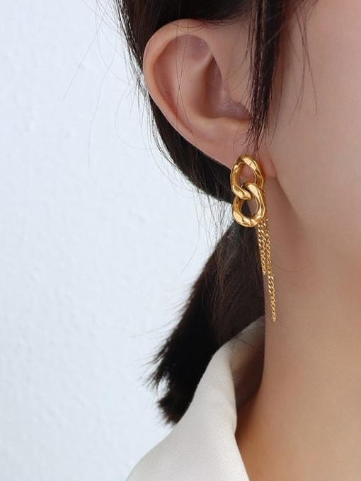 MAKA Titanium Steel Tassel Hip Hop Threader Earring 1
