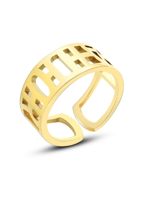 MAKA Titanium Steel Geometric Minimalist HollowLetter Band Ring 0