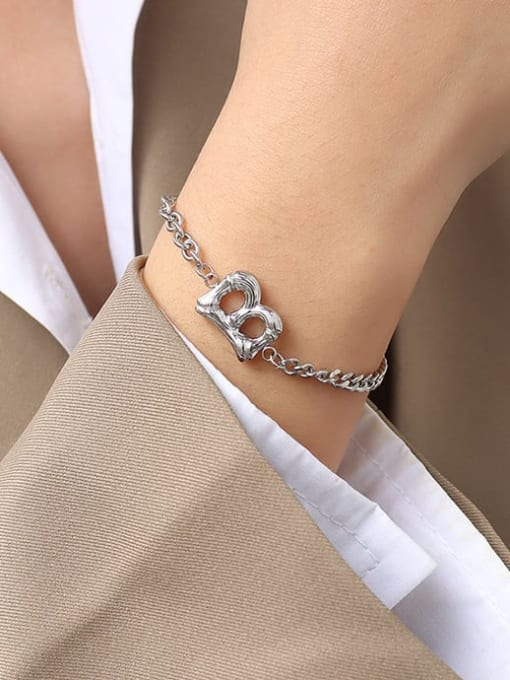 MAKA Titanium Steel Geometric Chain Vintage Link Bracelet 3