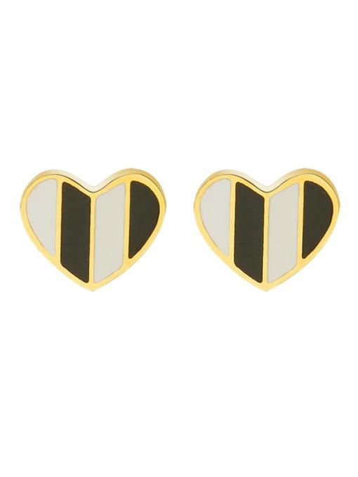f412 Gold Titanium Steel Shell Heart Minimalist Stud Earring