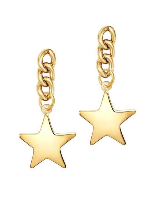 YAYACH Female European and American personality five pointed star Chain Earrings 0