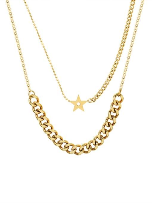 Gold Double necklaces Titanium Steel Geometric Hip Hop Multi Strand Necklace