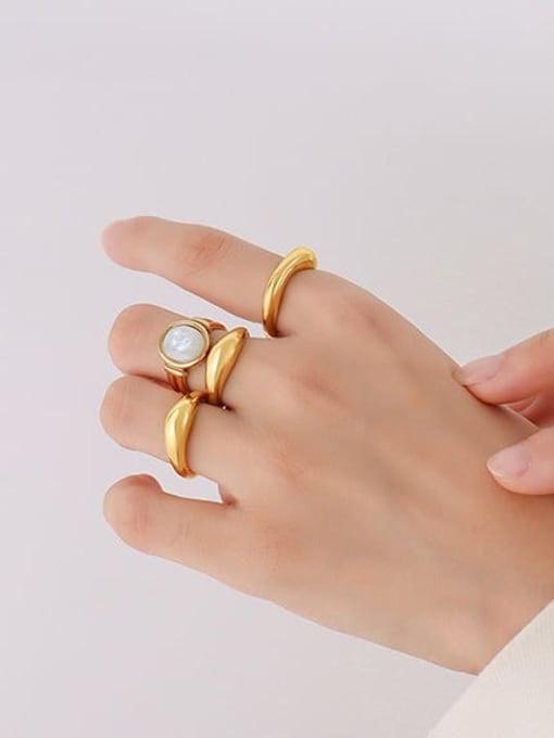 MAKA Titanium Steel  Smooth Geometric Minimalist Band Ring 1