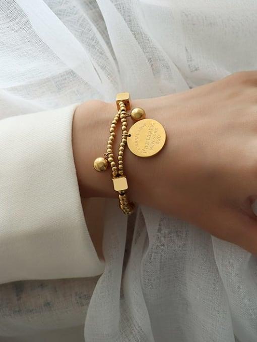 MAKA Titanium Steel Geometric Vintage Beaded Bracelet 0