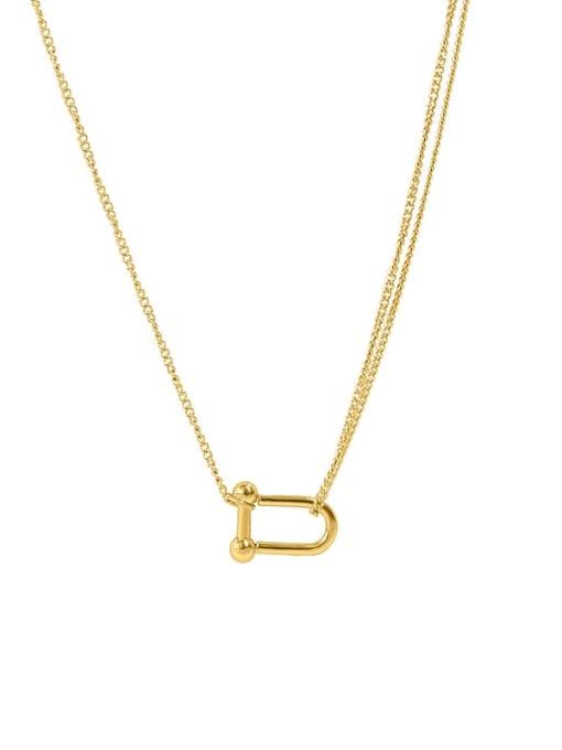 U-shaped  40 +5cm Titanium Steel Geometric Minimalist Necklace