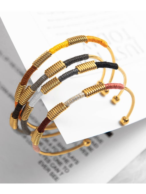 YAYACH Stainless steel color thread ethnic style open bracelet 1