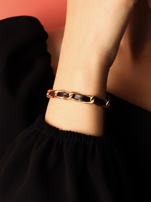 Gold bracelet 14 +5cm Titanium Steel Leather Geometric Vintage Link Bracelet