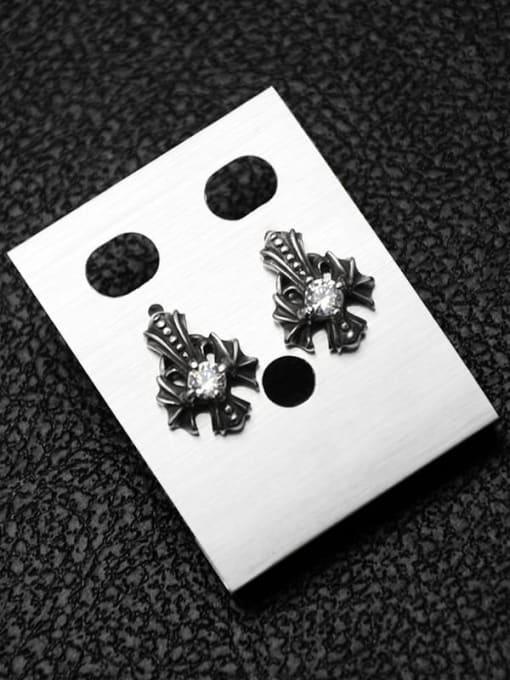 MAKA Titanium Steel Rhinestone Cross Vintage Stud Earring 2