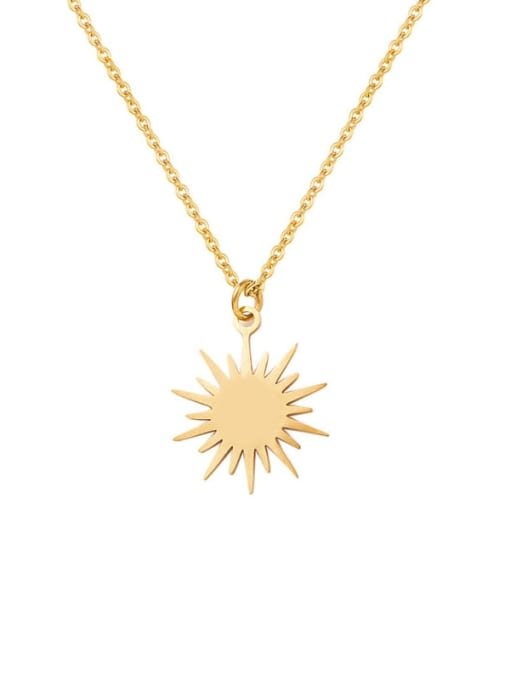 YAYACH Six Pointed Sun Clavicle Titanium Steel Necklace 0