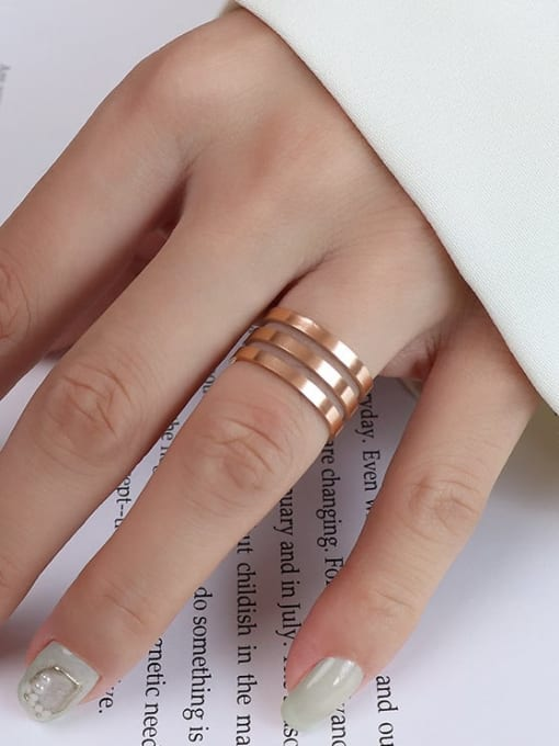 A005  three layers of rose gold Titanium 316L Stainless Steel Geometric Vintage Band Ring with e-coated waterproof