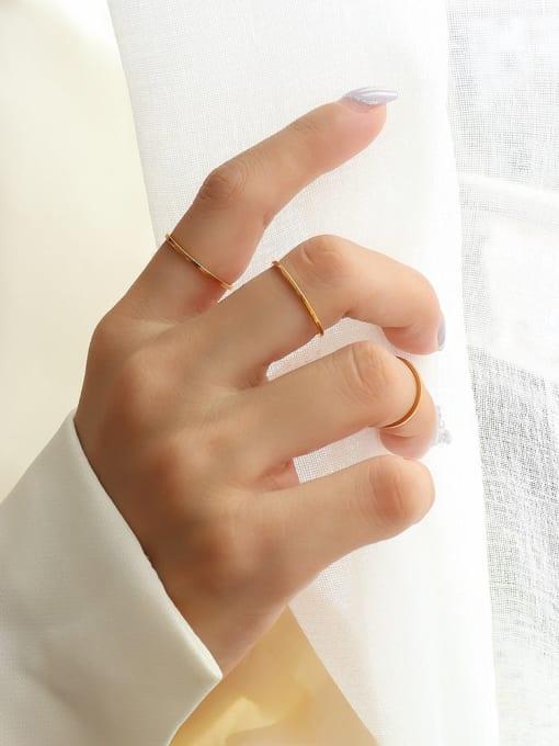 Gold Titanium Steel Geometric Minimalist Band Ring