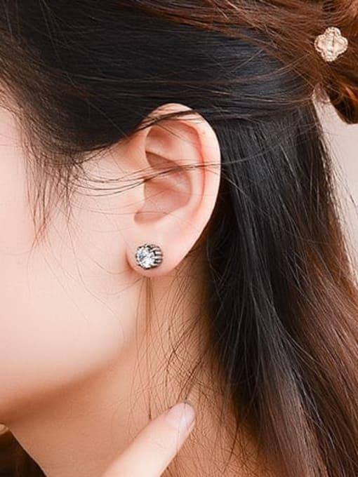 MAKA Titanium Steel Rhinestone Geometric Vintage Stud Earring 1