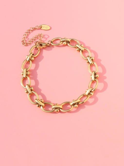 gold Titanium Steel Hollow  Geometric Chain Vintage Link Bracelet